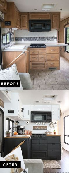 Modern camper remodels are the hottes -trend in tiny homes Are you thinking about updating the kitchen in your RV or camper? Come see how we made a huge impact in our motorhome with our RV kitchen renovation! Camper Renovation, Home Renovation, Home Remodeling, Camper Remodeling, Kitchen Renovations, Rv Kitchen Remodel, Cheap Renovations, Kitchen Remodelling, Vw Camping