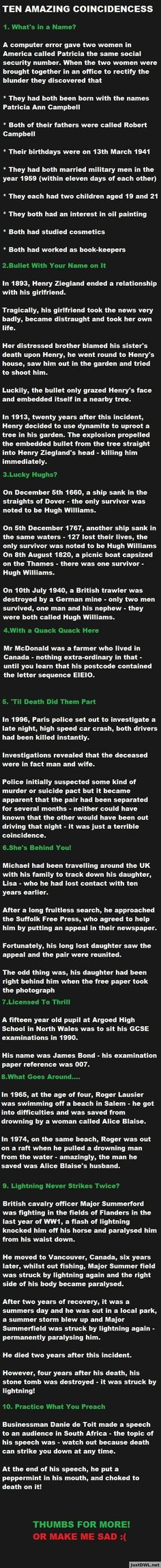 Ten Amazing Coincidences. Believe it?