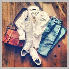 Brandy Melville outfit-white shirt,gold statement necklace,polka dot patterned jeans,white sneakers,camel brown  bag.
