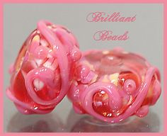 Pink Posies Pink Scrollwork Glass Beads Handmade by Gillianbeads, $4.50