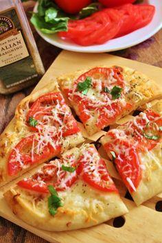 Margherita Pita Pizzas - Use whole wheat pita and low fat cheese