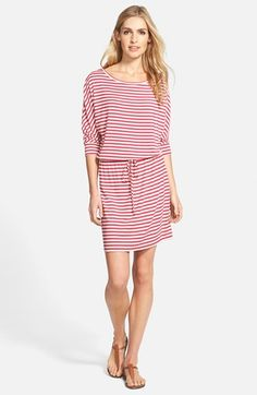 Caslon®+Three+Quarter+Sleeve+Round+Neck+Stretch+Knit+Dress+(Regular+&+Petite)+available+at+#Nordstrom