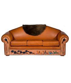 Native American Sofa With Painted Buffalo Hunt
