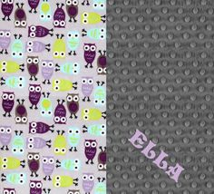 Owl Minky Blanket Girl  Purple Gray by Sewingdreamsnotions on Etsy- Purple Gray Owl Nursery - Personalized Baby Gift