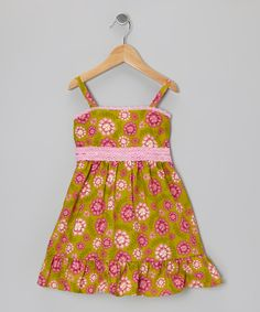Green & Pink Lace-Trim A-Line Dress - Infant, Toddler & Girls | Daily deals for moms, babies and kids