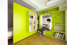 Architect Yuko Shibata wanted more shelf space in her home office, so she added a plywood door with built-in bookshelves that opens into her bedroom to form a reading nook. Creative Bookshelves, Bookshelf Design, Bookshelves Built In, Book Shelves, Bookshelf Wall, Display Shelves, Home Office, Modern Architecture Design, Modern Interior Design