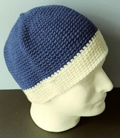 Crochet Beanie Royal Blue and White adult