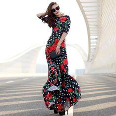 claveles del nuevo diseño de la marca de moda floral delgado vestido largo maxi de la gasa de las mujeres del verano de la