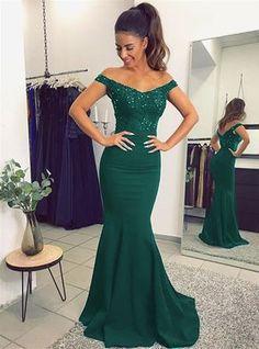 Emerald Green Evening Dress,Dark Green Prom Dress,Emerald Green Prom Dress,Mermaid Prom Dresses 2018,Off The Shoulder Evening Dresses