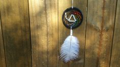 Pink Floyds Dark Side Of The Moon LP Album inspired dreamcatcher!   Size options: -Jumbo Woven: 12 Ring, Approximately 36 Length (image 2)(MUST CHOOSE SHIPPING UPGRADE)  -Large Woven: 8 Ring, Approximately 16 Length (image 1 & 3)  -Medium Woven: 5 Ring, Approximately 12 Length (image 3)  -Medium Beaded: 5 Ring, Approximately 12 Length -Small Woven: 3 Ring, Approximately 8 Length (image 4)  -Small Beaded: 3 Ring, Approximately 8 Length ~Small dream catchers come with white feather~  ~Each ...