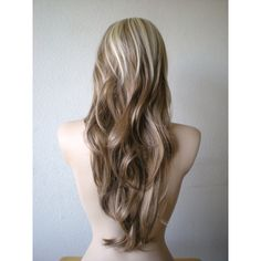 Ombre blonde and brown wig. Ash blonde /brown Long wavy hair with Long side bangs wig. (9,025) found on Polyvore