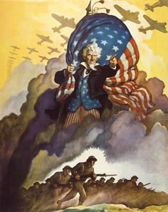 """Uncle Sam / Buy War Bonds  1942, known by reproduction only - Used as poster ad. for war bonds, published in 1942 by U. S. Gov. Printing Off. (copy 1 at DL Art Mus., Schoonover Archives, with legend below image: BUY WAR BONDS / U.S. GOV. PRINTING OFFICE: 1942-0-474 689 WSS 510-A; copy 2, Brandywine River Museum library, with legend below: BUY WAR BONDS / U.S. GOV. PRINTING OFF.: 1942-0-469204 WSS 510, measures 35 3/4 x 30""""); image also used as cover ill.  for unidentified periodical ca…"""