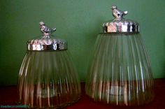 Silver lidded bird jars - a steal at $3 each from target! Love them. Now, what to put in them...