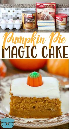 Pumpkin Pie Magic Cake only has 5 ingredients but it tastes completely homemade!… Pumpkin Pie Magic Cake only has 5 ingredients but it tastes completely homemade! It tastes like it is part pumpkin pie a… Fall Baking, Holiday Baking, Köstliche Desserts, Dessert Recipes, Spice Cake Mix Recipes, Green Desserts, Dump Cake Recipes, Pumpkin Pie Cake, Spice Cake With Pumpkin
