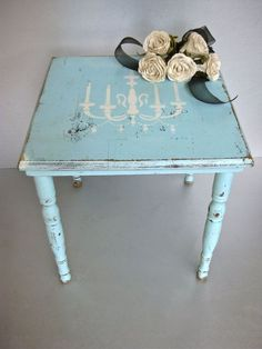 Shabby Chic Table, Side Table, Chandelier, Aqua Blue, Farmhouse, Rustic, Paris Apartment, French Cottage, Wood Table, Vintage Table