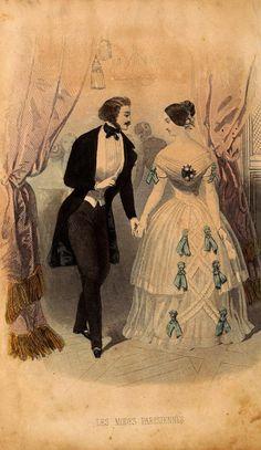 Fashions for men and women, Jan 1846 France, Les Modes Parisiennes