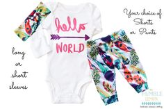 Baby Girl Coming Home Outfit: Hello World Arrow by TheHumbleLemon