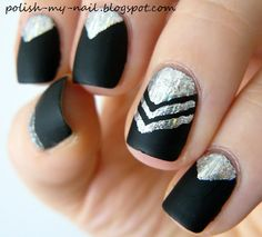 Matte chevron with transfer foil, nails