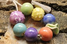 Ceramic bead set Nine brightlycolored  ceramic by EclecticPrairie, $13.50