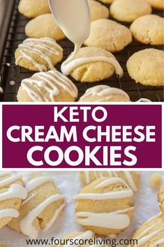 Soft, chewy keto cream cheese cookies that are simple to make and low carb. Step by step photos included showing you how easy these cookies are to make. Slow Carb Recipes, Paleo Recipes, Baking Recipes, Cookie Recipes, How To Eat Paleo, How To Eat Less, Food To Make, Favorite Cookie Recipe, Keto Cream