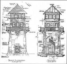 Stone tower...Wayah Bald Observation Tower, North Carolina (1938)