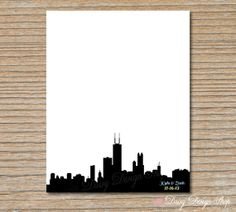 Wedding Guestbook Print - Chicago Skyline Guest Book Alternative - 11x14 Personalized Print