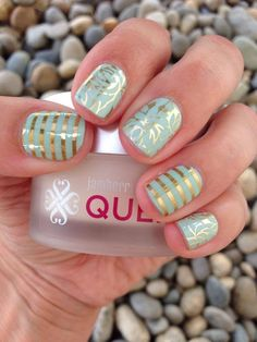 Love the fresh fern and mint green with pin stripe combos! http://www.applejacksjams.jamberrynails.net/color/Green