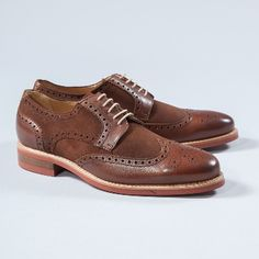 Berwick  Brown Suede And Leather Brogues: Vintage inspired and a timeless design from specialist shoemakers, Berwick. Suede panels, classic leather broguing detail, hardwearing laces, durable sole.