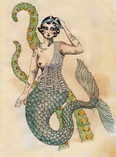 victorian line art mythical mermaid - Google Search