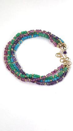 Amethyst, turquoise, chrysoprase, pink quartz dainty bracelet Source by bracelets Dainty Bracelets, Layered Bracelets, Seed Bead Bracelets, Gemstone Bracelets, Bracelet Set, Gemstone Beads, Jewelry Bracelets, Strand Bracelet, Colorful Bracelets