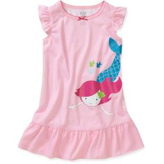 Child of Mine by Carters Baby Girls' Mermaid Flutter Sleeve Nite Gown: Baby Clothing : Walmart.com