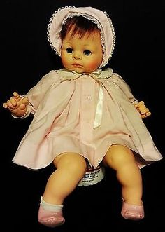 "Vintage 1965 Madame Alexander Baby doll 24"" TALL CRY BABY SLEEPY EYES DOLL"