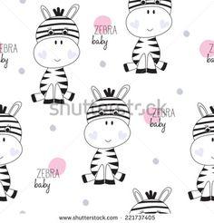 zebra baby pattern vector illustration - stock vector
