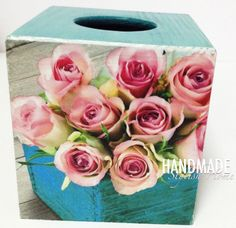 wooden tissue box cover/ kleenex box holder, shabby chic, vintage roses, pink and turquoise, shabby chic roses, shabby tisse box by HandmadeStylishHome on Etsy https://www.etsy.com/listing/275046828/wooden-tissue-box-cover-kleenex-box