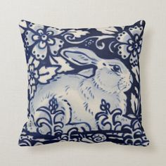 Shop Blue White Resting Rabbit Hare Navy Chinoiserie Throw Pillow created by BonneIdeeArt. Khaki Bedroom, Blue Master Bedroom, White Bedroom, Navy Blue Throw Pillows, Grey Pillows, Blue And White Bedding, Living Room Decor Pillows, Living Rooms, White Rabbits