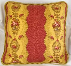 French Country Romantic Cottage Pillow Red by TsEclecticTreasures French Country Fabric, French Country Cottage, Country Cottages, French Style, Floral Pillows, Decorative Pillows, Red Rooster, Romantic Cottage, Gold Stripes