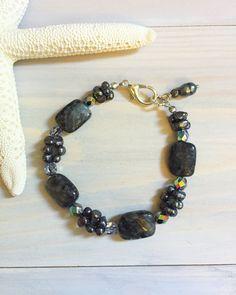 Black Pearl Bracelet Black Stone Beaded Bracelet by LaniMakana