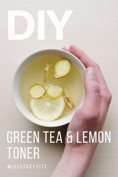 DIY green tea & lemon facial toner. Toner helps clean and balance THE PH of your skin.