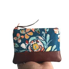 Leather Statement Clutch - PEACOCK GARDEN LEATHER by VIDA VIDA 55s6vK4Fh