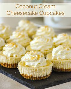 Coconut Cream Cheesecake Cupcakes – at only 224 CALORIES EACH, these delectable mini cheesecakes are exactly the same as our full sized Coconut Cream Cheesecake, except in a smaller, portion controlled size. These Coconut Cream Cheesecake Chocolate Cheesecake Cupcakes, Mini Cheesecake Recipes, Coconut Cheesecake, Mini Desserts, Cupcake Recipes, Delicious Desserts, Cupcake Cakes, Dessert Recipes, Mini Cupcakes