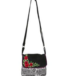 Buy Black sling with flower bunch Bag online