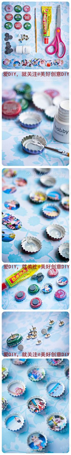 DIY bottle cap magnets and push pins!