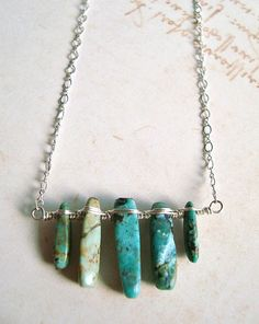 African Turquoise Necklace Sterling Silver by BellaAnelaJewelry, $49.00