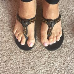 Blk sanders with very small wedge and beads Black sandals with thong and small wicker like wedge with pretty beads, size 10, slightly worn Shoes Sandals