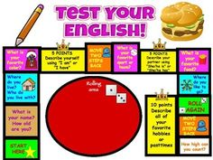 """SPANISH 1, 2 pre-post test """"game"""" assessment, also in English for ELLs This board game tests the basic survival questions in English (for ELL) and Spanish (For FLES, or Spanish 1, 2) Print, laminate, divide the kids, and watch them have fun."""
