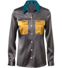 Tricolor silk blouse anthracite / bronze by Steffen Schraut at UNGER
