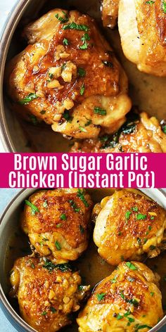 Pot Brown Sugar Garlic Chicken Mins Recipe) - Rasa Malaysia Juicy and fall-off-the-bone chicken thighs with brown sugar garlic sauce, pressure cooked in an Instant Pot for 8 mins. Instant Pot chicken dinner is so easy Garlic Chicken Recipes, Instapot Recipes Chicken, Easy Chicken Thigh Recipes, Bone In Chicken Recipes, Chicken Thigh Meals, Easy Sauce For Chicken, Delicious Chicken Recipes, Easy Chicken Meals, Garlic Sauce For Chicken