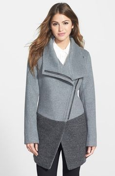 Free shipping and returns on Calvin Klein Colorblock Asymmetrical Zip Wool Blend Coat at Nordstrom.com. Color-block styling and a moto-inspired asymmetrical zip update a lush wool-blend coat designed with a convertible collar and a cutaway front. The silhouette is shaped for a flattering fit.