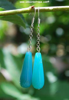Boucles d'oreille en agate facettée bleu turquoise