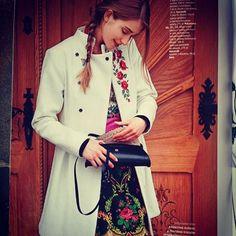 #gorsecik #płaszcz #haft #torebka #spódnica #folk #warkocz #wiosna